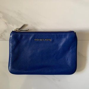 Michael Kors Blue Three Pocket Leather Pouch